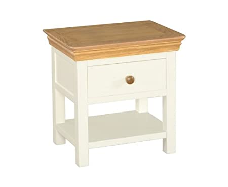 Oak Painted Night Stand Single Drawer With Shelf White Painted Shabby Chic  Finish Bedroom Furniture