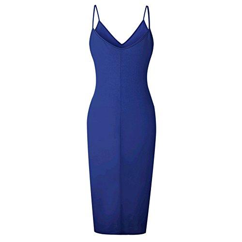 Dress Coolred Sexy Stylish Sun Colour V Slim Pattern3 Neck Midi Slip Women Split Pure qawqr7B