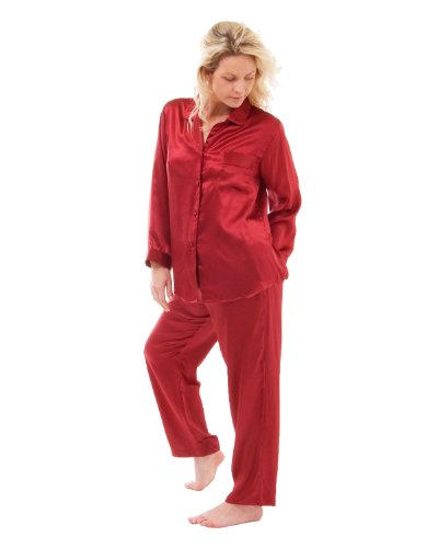 Seda clásica pijama Cherry Burgundy