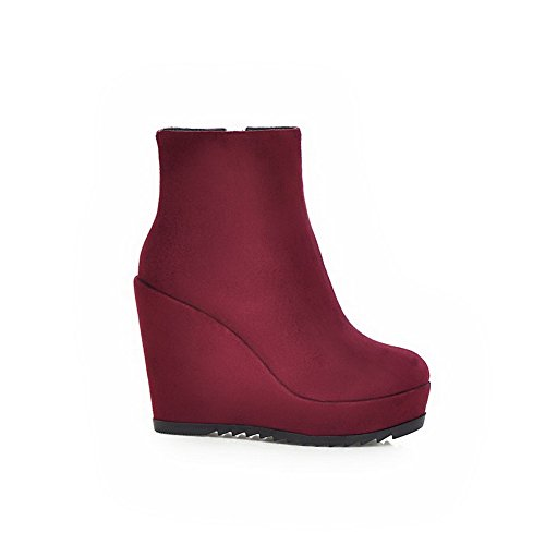 Ladies Materials Red Thick AdeeSu Zipper Bottom Heel Matching Blend Boots Color dZpx81