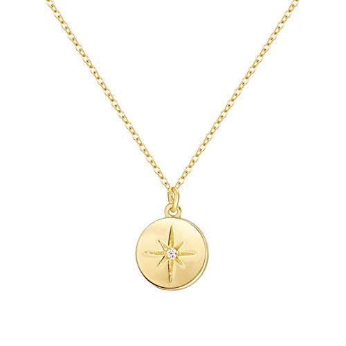 (S.Leaf Gold Coin Necklace Starburst Disc Pendant Necklace for Woman (14K gold plated))