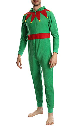 Top Shelf Men's Fleece Onesie - Adult One Piece Zip Up Pajamas & Loungewear - Available in Fun Holiday Styles - Elf, -