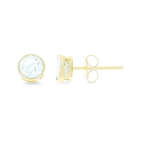 0.99CTW 14K Yellow Gold Genuine Natural Aquamarine Round Bezel 5 mm. Solitaire Stud Earrings
