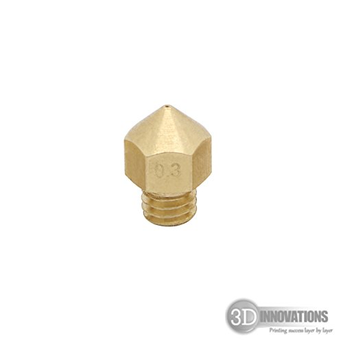 3DInnovations 0.3 mm Extruder Nozzle for 3D Printer, Compatible with MK7, MK8 and M6 Threaded extruder