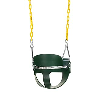 Eastern Jungle Gym Heavy-Duty High Back Half Bucket Toddler Swing Seat with Coated Swing Chains and Safety Strap