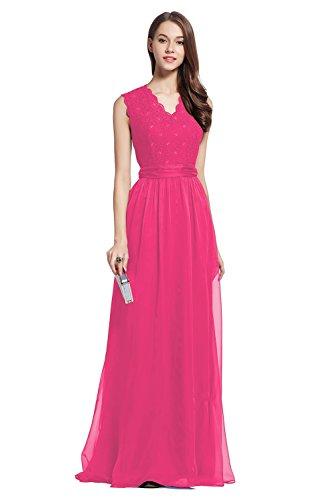 Elegant Long Wedding Lace&Chiffon Sleevesless Bridesmaid Women Dress hot pink 4 (Wedding Dress Hot Pink)