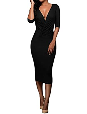 Tiksawon Womens Sexy Wrap V Neck Bodycon Party Cocktail Club Midi Dress