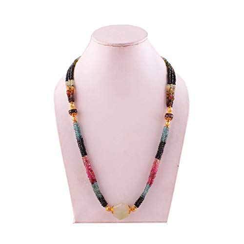 Natural Gemstone Multi Color Tourmaline Faceted rondelle Beads Necklace pandent for Women | 21 inch Gemstone Necklace|3-4 mm Loose Beads for Jewelry Making | Healing Beads - Multi Necklace Color Tourmaline