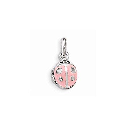 Sterling Silver Pink Enamel Ladybug Locket Pendant