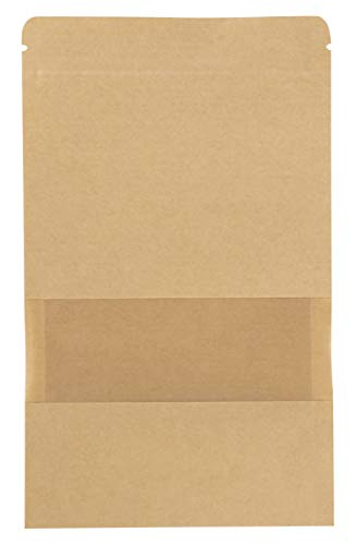 Kraft Zip Lock Stand-up Bag - 50-Pack Resealable Paper Pouch 5.7-Ounce Capacity with Transparent Matte Window and Tear Notch, Reusable Sealing Bag, 6.3 x 8.6 Inches