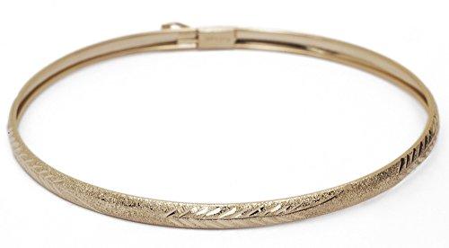 "Flexible Round bangle bracelet w/ Diamond Cut Design - 10k Yellow Gold – 8 Inches (0.16"" - Cut Gold Design Diamond Bracelet"