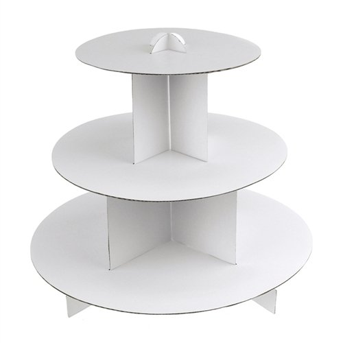 Disposable Cake Stands - Homeford Firefly Imports Zebra Cupcake Cardboard Stand, 3-Tier, 10-Inch, White
