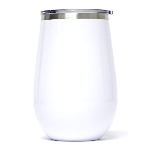 Greatness Line 12 oz Skinny White Stemless Stainless Steel Wine Glass Tumbler - Dual Wall Vacuum Insulated - Ideal for Red Wine, Liquors and Other Beverages - Keeps Ice Cold and Hot