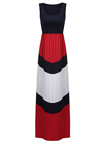 Sherosa Women's Summer Casual Stripe Sleeveless Loose Beach Maxi Dress (XL, Red)