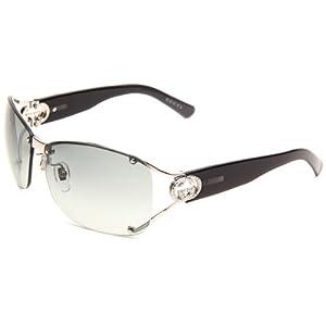 Gucci Women's 2820/F/S Wrap Sunglasses,Shiny Palladlium Frame/Grey Gradient Lens,One Size