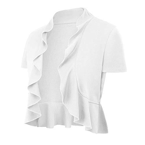 Cardigan Ruffle Sleeve Short (ZEGOLO Women's Open Front Short Sleeve Cropped Cardigan Ruffled Fitted Knitwear Bolero Shrug)