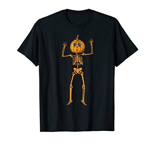 Pumpkin Skeleton Halloween T-Shirt Funny Halloween Tee