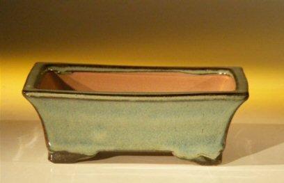 Bonsaiboy Green Ceramic Bonsai Pot - Rectangle 6.125 x 5.0 x 2.125.