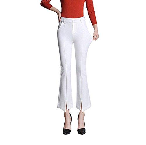 Libero Bianca Slim Pantaloni Pantaloni Tempo Colpo Fit Primaverile Con Casual Autunno Pantaloni Moda Elegante Larghi Moda Tasche Grazioso Pantalone Monocromo Spacco Donna 48x4HOng1