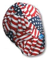 Welding Cap, Color Red/White/Blue, 7-1/4