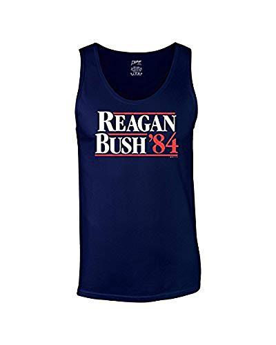 Trenz Shirt Company Ronald Reagan Bush '84 Cool Retro Tank Top-Navy-Small