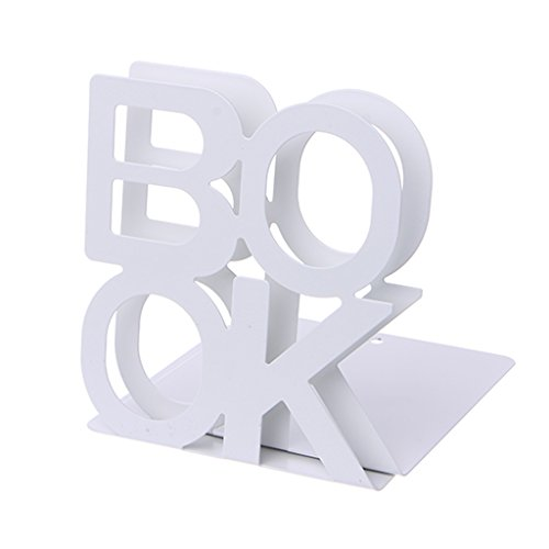Forgun Alphabet Shaped Metal Bookends Iron Support Holder Desk Stands For Books (WHITE)