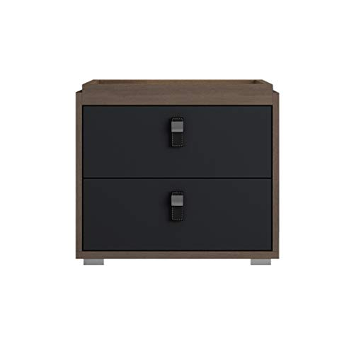 Bedside table GJM Shop Solid Wood Simple Modern Leather Handle Mini Bedroom Side Cabinet (Color : 2) ()