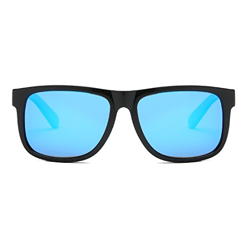 Cuadrada Unisexo De Polarizado Negro Brillante amp;azul K0585 Anteojos Kimorn Hombres Forma Sol Retro Gafas qSHYf