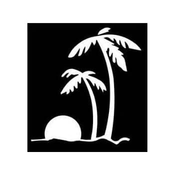 Amazon Com Beach Sunset Palm Trees Ocean Vinyl Decal