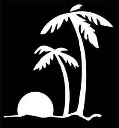 Palm Bent Tree - Beach Sunset Palm Trees Ocean Vinyl Decal Sticker|WHITE|Cars Trucks Vans Jeeps SUV Laptops Wall Art|5.5
