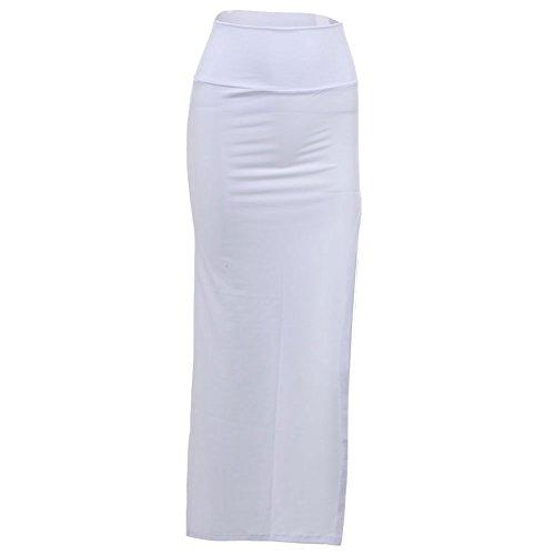 ANDI ROSE Women's Slim Side Split Open Leg Stretch Long Maxi Skirt Dress (White)