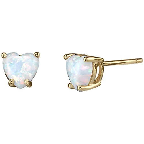14K Yellow Gold Heart Shape Created Opal Stud Earrings