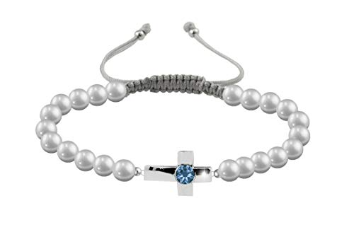 ChicOpick Cross Bracelets with Freshwater Natural Pearl and 925 Sterling Silver, Easy to Adjust with Handmade Macrame Thread Closure, in Three Models. (Sapphire)
