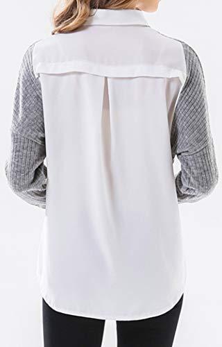 Femme Casual Manches T Blouse Shirts Bouton Longues Knit Gris Patchwork Chemises Yeesea FwqOdgUq