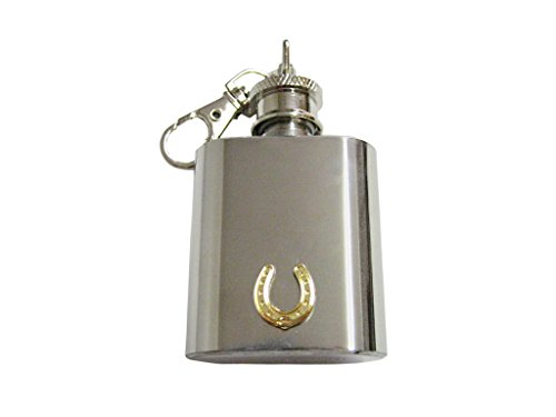 Gold Chain Horseshoes (Gold Toned Horse Shoe 1 Oz. Stainless Steel Key Chain Flask)