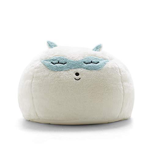 Big Joe Lux Wild Bunch Raccoon, Super Soft Plush Bean Bag, White/Blue