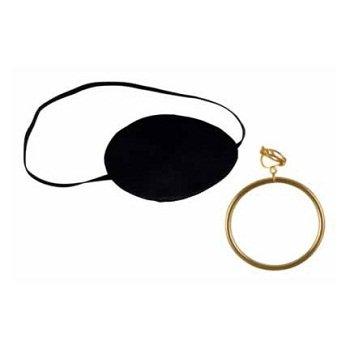 Beistle S60749AZ6 6 Sets Pirate Eye patch with Plastic Gold Earring, -