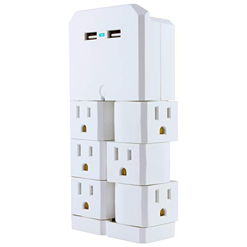 GE UltraPro USB Swivel Outlet Charging Station, 6 Outlets, 2 USB Ports, Outlets Rotate 90 Degrees, Mounting Screw, Power Indicator Light, Wall Tap Outlet Adapter, UL Listed, White, 37064