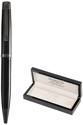 Marquis by Waterford Metro Stealth Ball Pen, Matte Black Lacquer Finish with Polished Black Accents. Packaged in a Black Lacquer Wood Gift Box ()