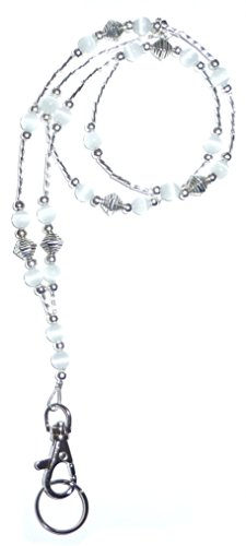 Hidden Hollow Beads Super Slim White Fashion Women's Beaded Lanyard with Break Away Magnetic Clasp - Jewel Clasp