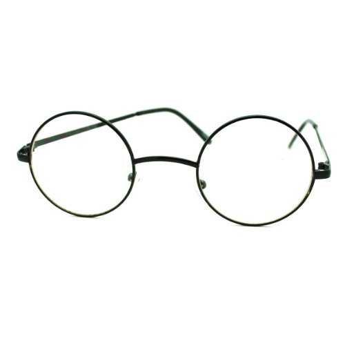 Black Round Circle Clear Lens Eyeglasses Small Size Thin Frame Unisex - Glasses Fake Circle