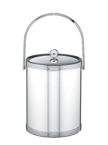5 Qt Metal Bucket - Kraftware Polished Chrome Ice Bucket with Triband Accents and Track Handle - 5 Quart