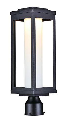 Maxim 55900SWBK Salon LED 1-Light Outdoor Post, Black Finish, Satin White Glass, PCB LED Bulb , 0.288W Max., Damp Safety Rating, Shade Material, Rated Lumens