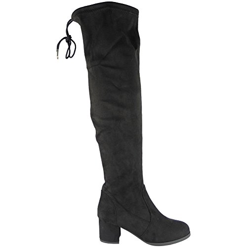 Boots 3 High up Ladies 8 Size Low NEW Knee Thigh Heel Shoes The BLACK Long Lace Womens Over Hg1Y6H4