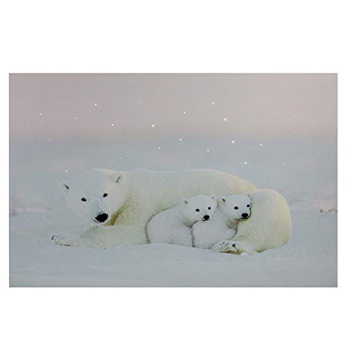 Northlight Fiber Optic Mama Polar Bear & Cubs Canvas Wall Art, White