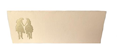 Romance Place Card - 100 Gold Western Romance Tent Style Ivory Place Cards 4.25
