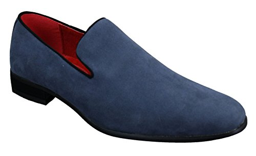 Rossellini Mens Suede Slip On Suede Mens Driving Loafers Shoes Leather Smart Casual Red Blue Black Black 6 B015Y9ZEOI Shoes d6aeea