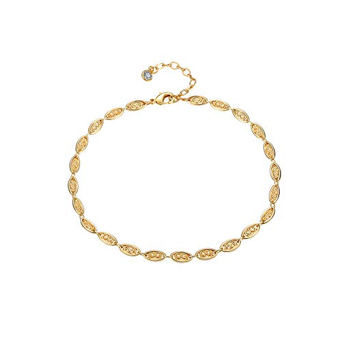 Gold Tiny Foot Chain Anklet for Women,18K Gold Plated Boho Beach Dainty Link Chain Ankle Bracelet Handmade Cute Oval Charm Anklet Minimalist Jewelry for Women