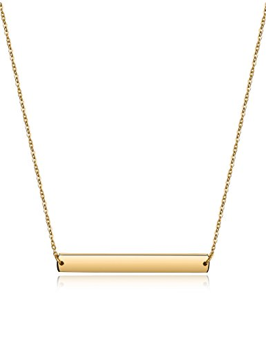 Wistic Bar Necklace Stainless Steel Gold Plated Adjustable with Engravable Bar Pendant(16Inch+2)(Yellow)