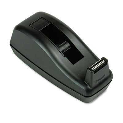 Deluxe Desktop Tape Dispenser, Attached 1'' Core, Heavily Weighted, Black, Total 12 EA, Sold as 1 Carton